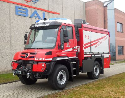 New BAI fire fighting vehicle model VSAC 1700 M CAFS on MB Unimog U 427 chassis