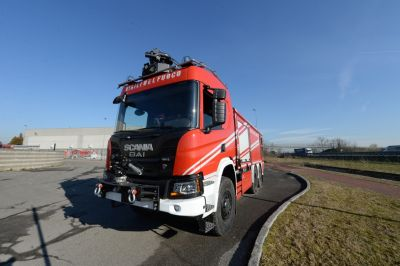 New airport fire fighting vehicle, BAI model BAI VSA 8600 S / DP250.  Prototype tested and approved